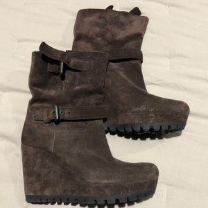 Prada brown suede platform boots, size 36